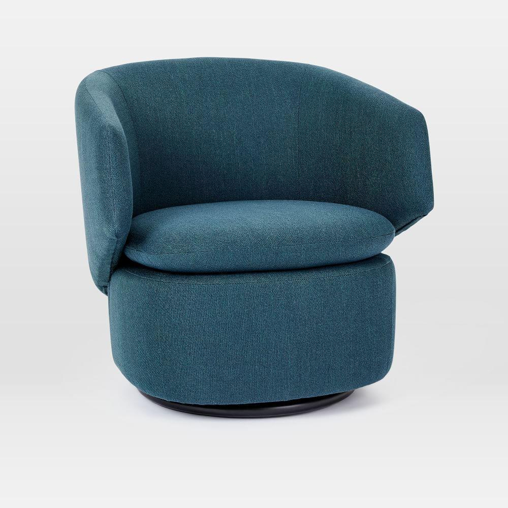 Crescent Swivel Chair Teal West Elm Australia