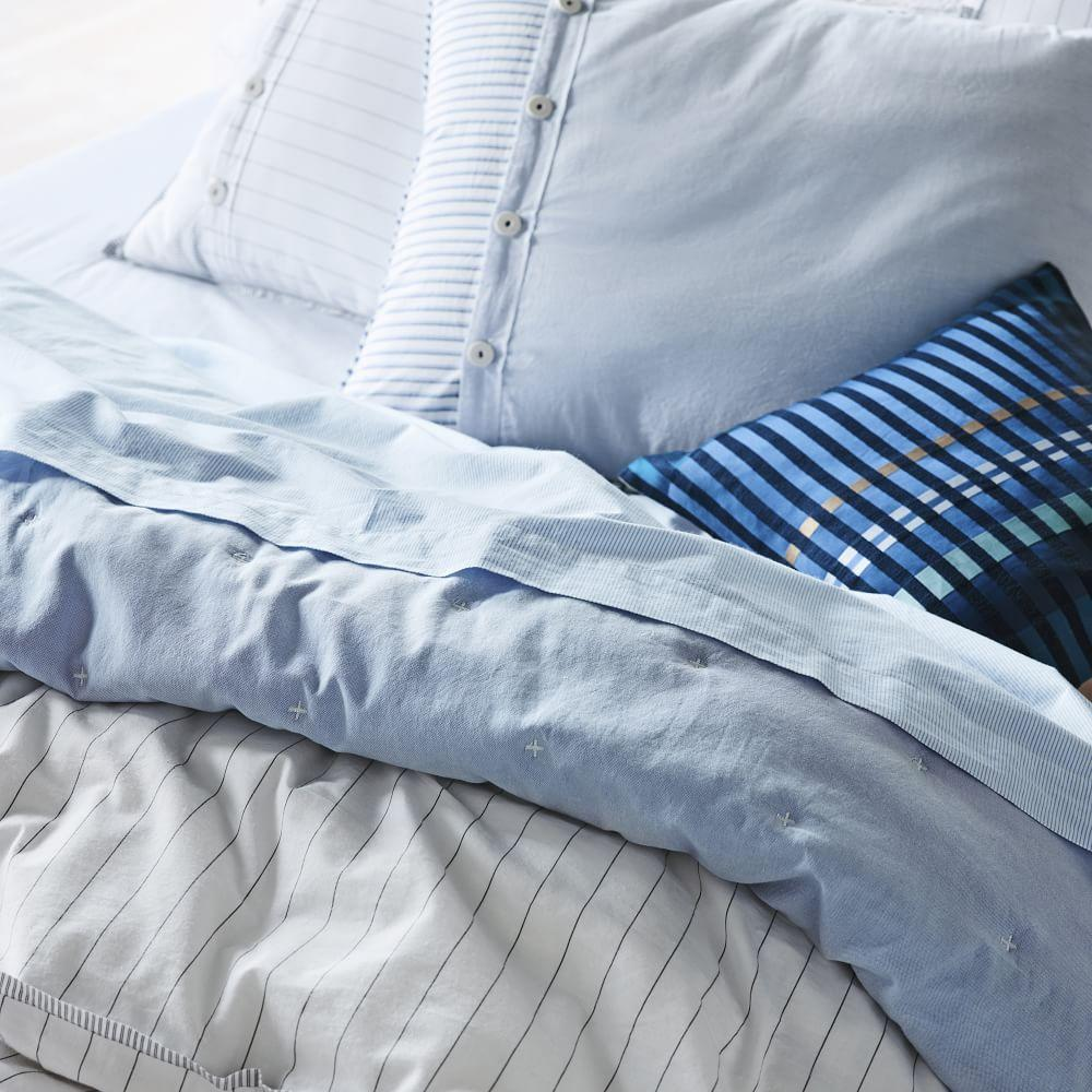 Organic Oxford Coverlet + Pillowcases - Kyoto Blue