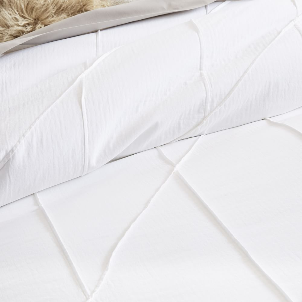 Pleated Grid Quilt Cover + Pillowcases - White