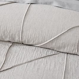 Organic Pleated Grid Quilt Cover + Pillowcases - Light Grey