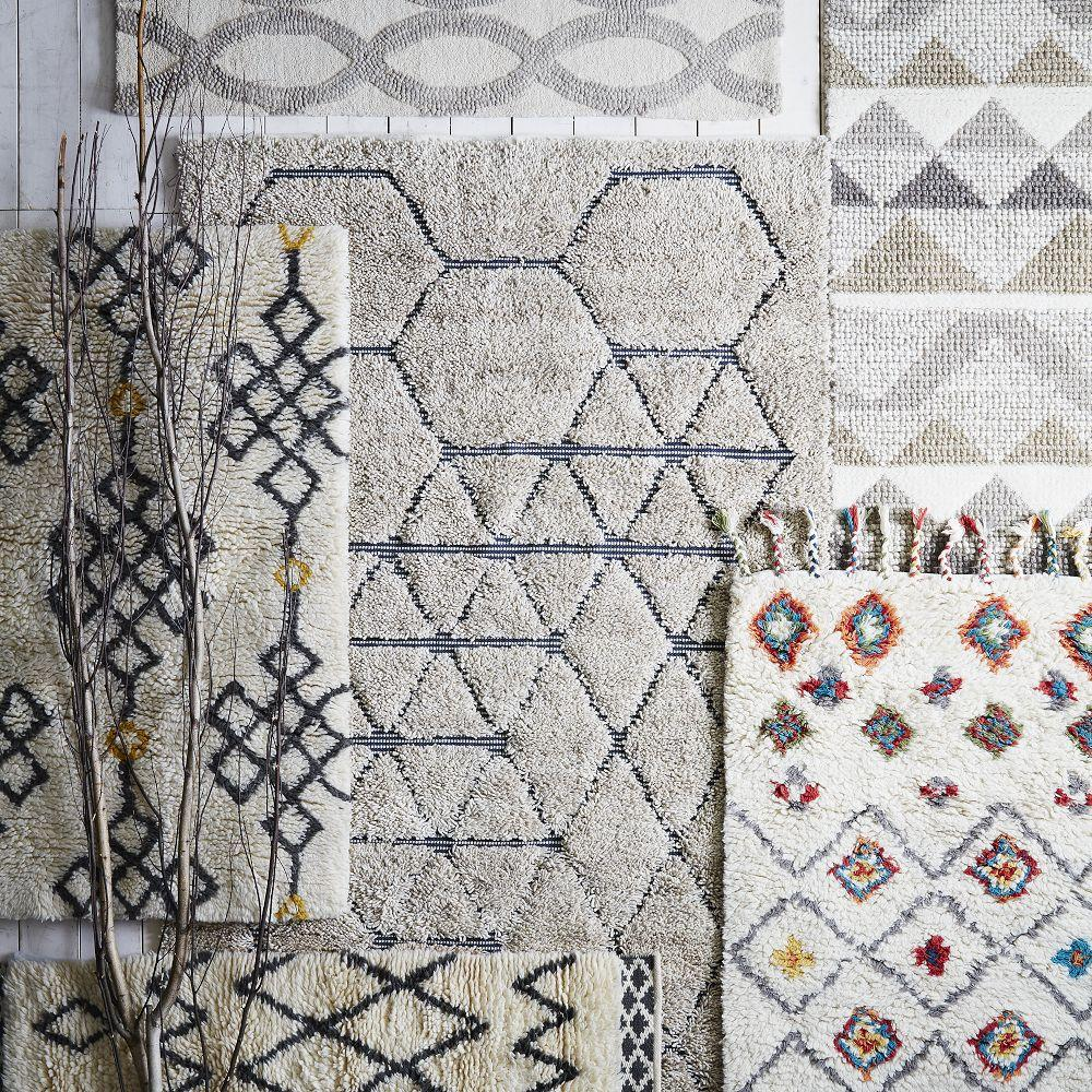 Fes Wool Shag Rug Ivory Slate West Elm Australia