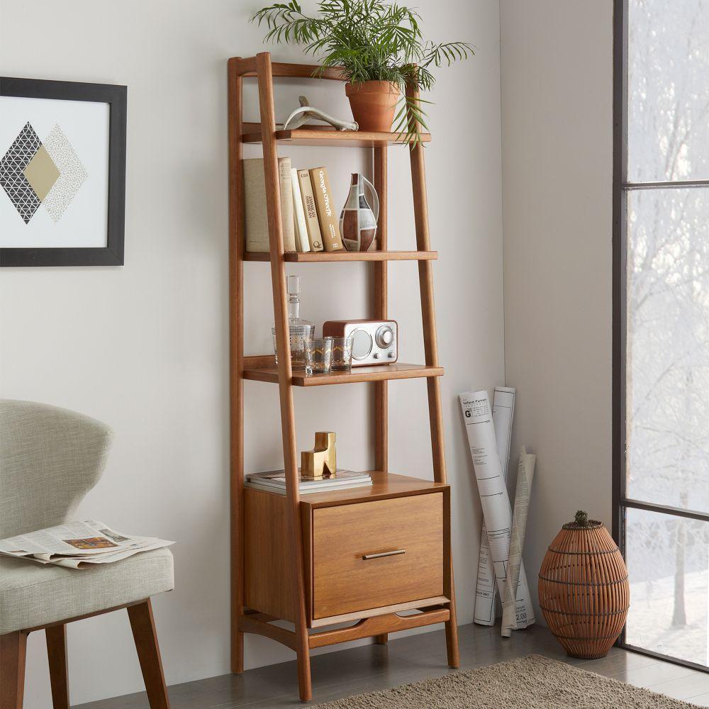 Mid Century Bookshelf Narrow