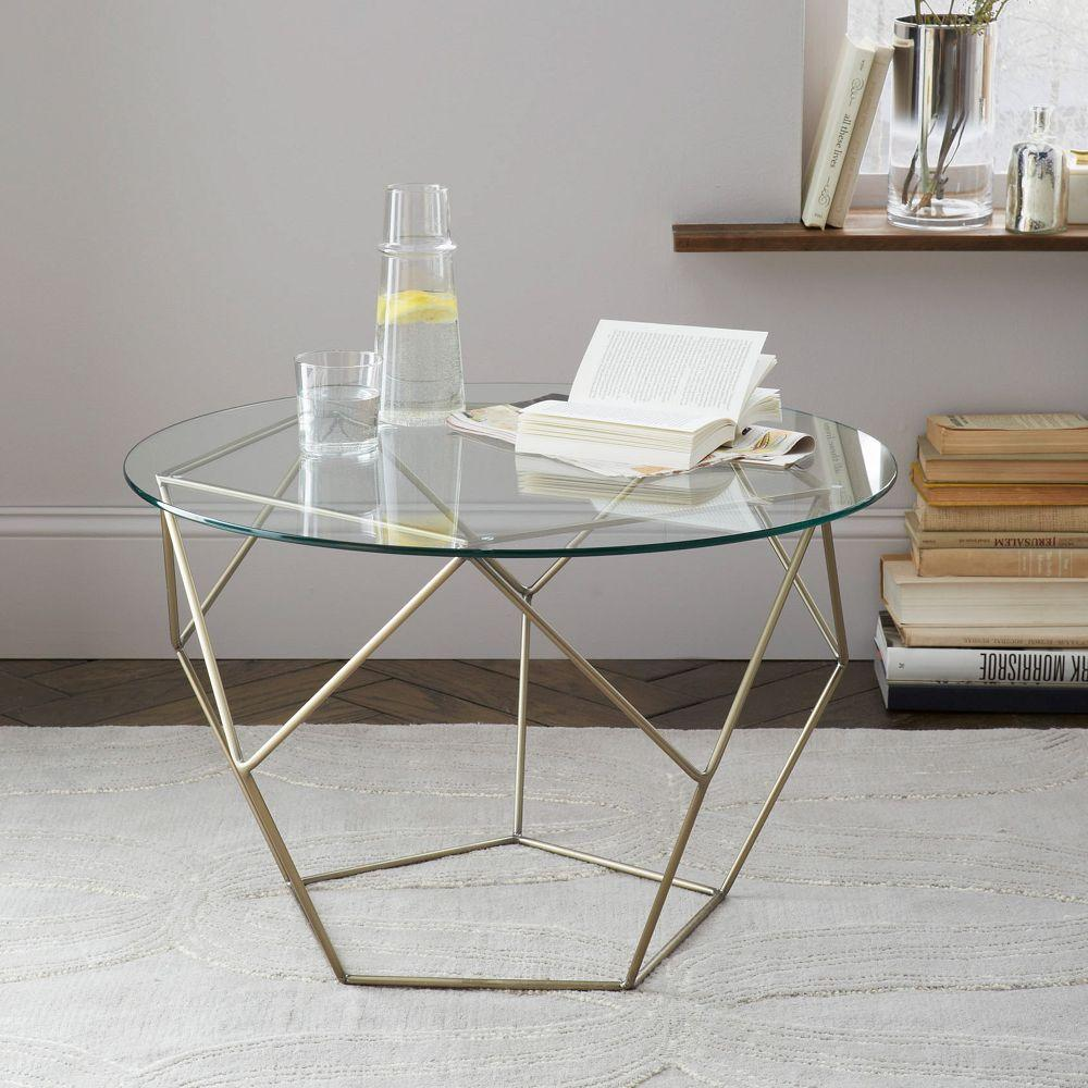 Origami coffee table glass antique brass west elm au Antique brass coffee table