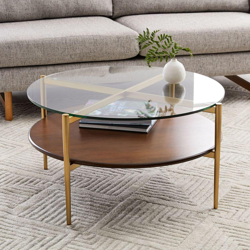 Mid Century Modern Coffee Table With Planter: Mid-Century Art Display Round Coffee Table