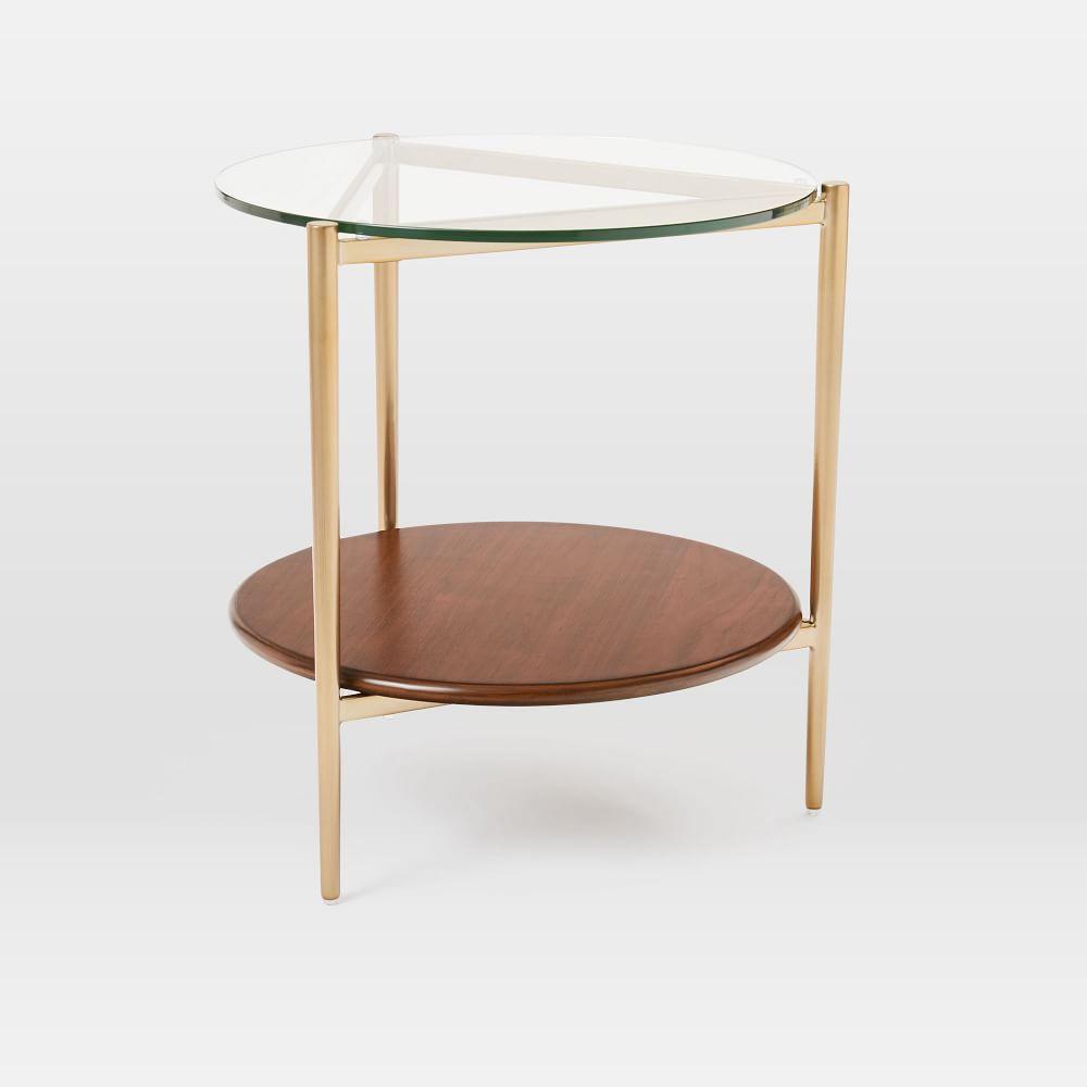 Mid-Century Art Display Side Table - Walnut