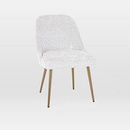 Mid-Century Dining Chair - Crosshatch Cut Velvet