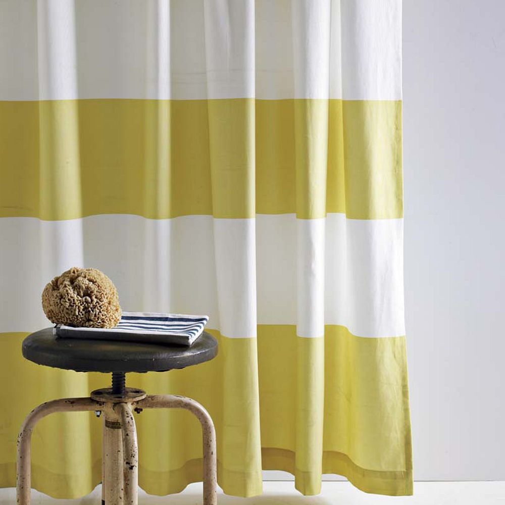 Stripe Shower Curtain Citron