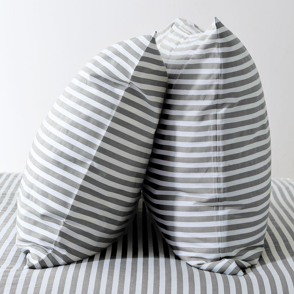 Stripe Sheet Set White Feather Gray