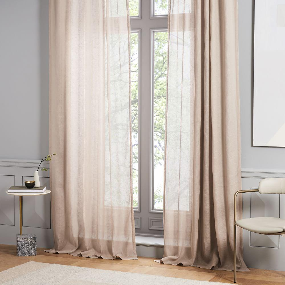 Sheer Belgian Flax Linen Curtain Dusty Blush West Elm