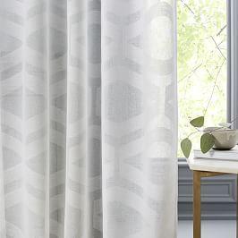 Semi-Sheer Clipped Jacquard Curtain - Stone White