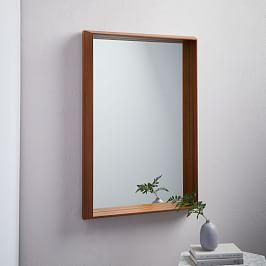 Wood Frame Ledge Wall Mirror