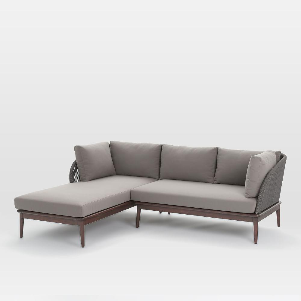 Corded weave outdoor 2 piece chaise sectional