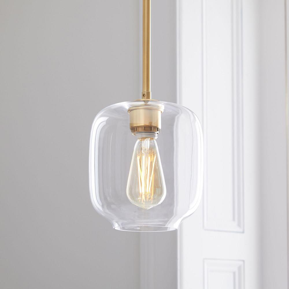 Sculptural Glass Pebble Pendant - Small (Clear)