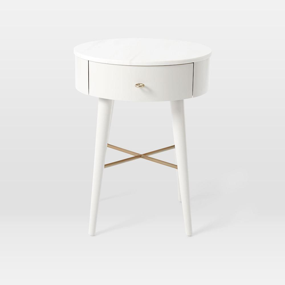 Penelope Bedside Table - Oyster w/ Marble Top