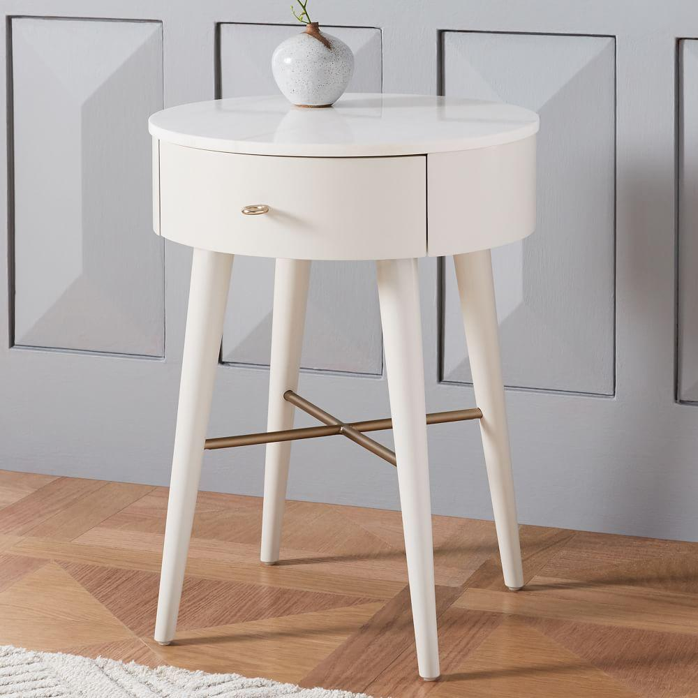 Penelope Bedside Table Oyster W Marble Top West Elm