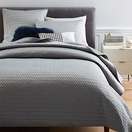 Gramercy Coverlet + Pillowcases - Platinum