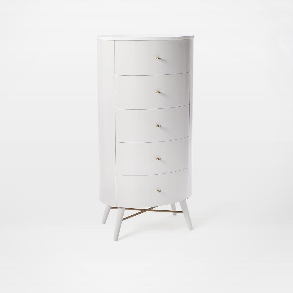 Penelope Narrow 5-Drawer Dresser - Oyster w/ Marble Top