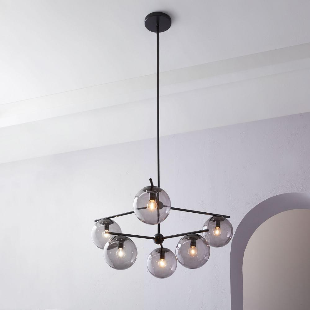 Sphere + Stem 6-Light Chandelier - Bronze