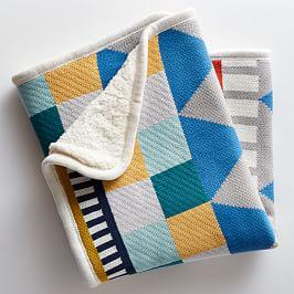 Knit Cotton Toddler Blanket - Geometric