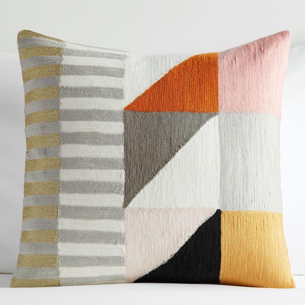 Divided Squares Crewel Nursery Cushion Cover - Blush