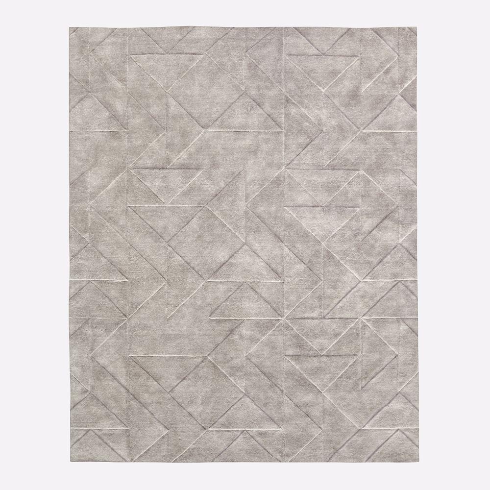 Carved Triangles Wool Nursery Rug