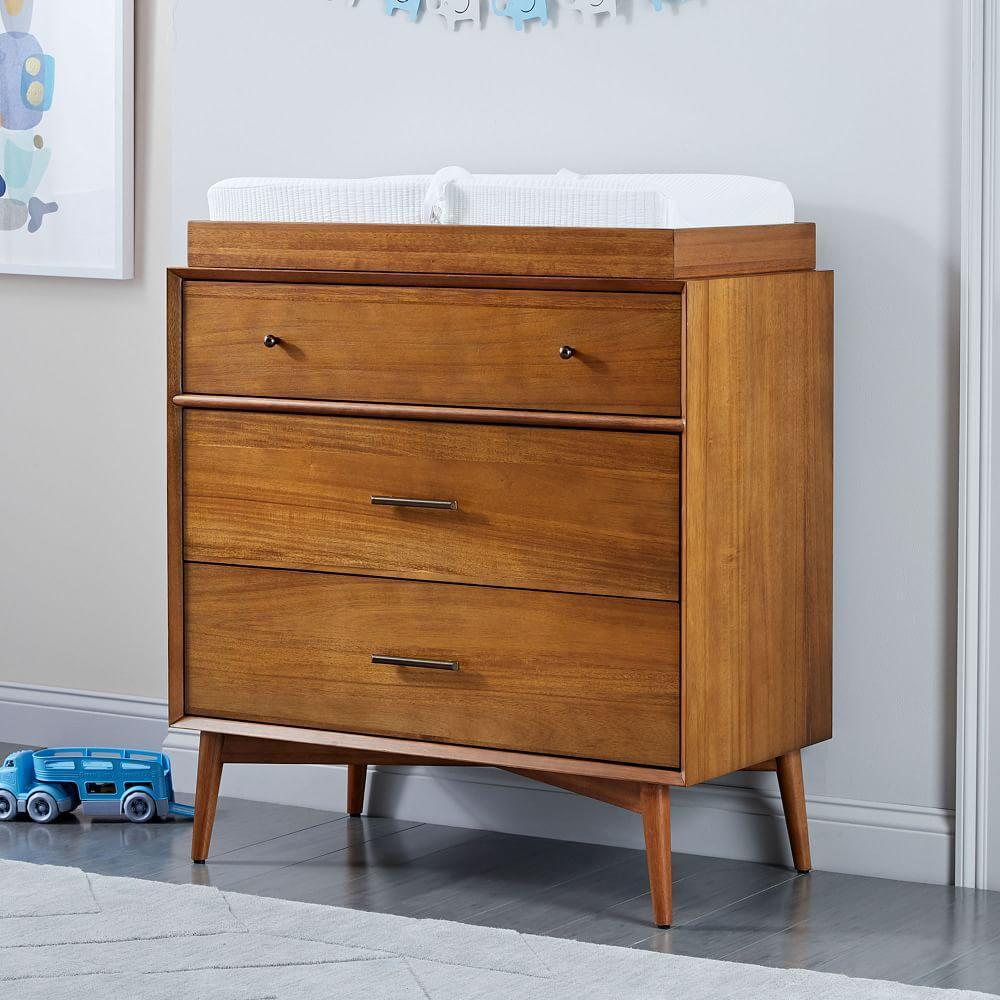 Mid-Century 3-Drawer Changing Table - Acorn
