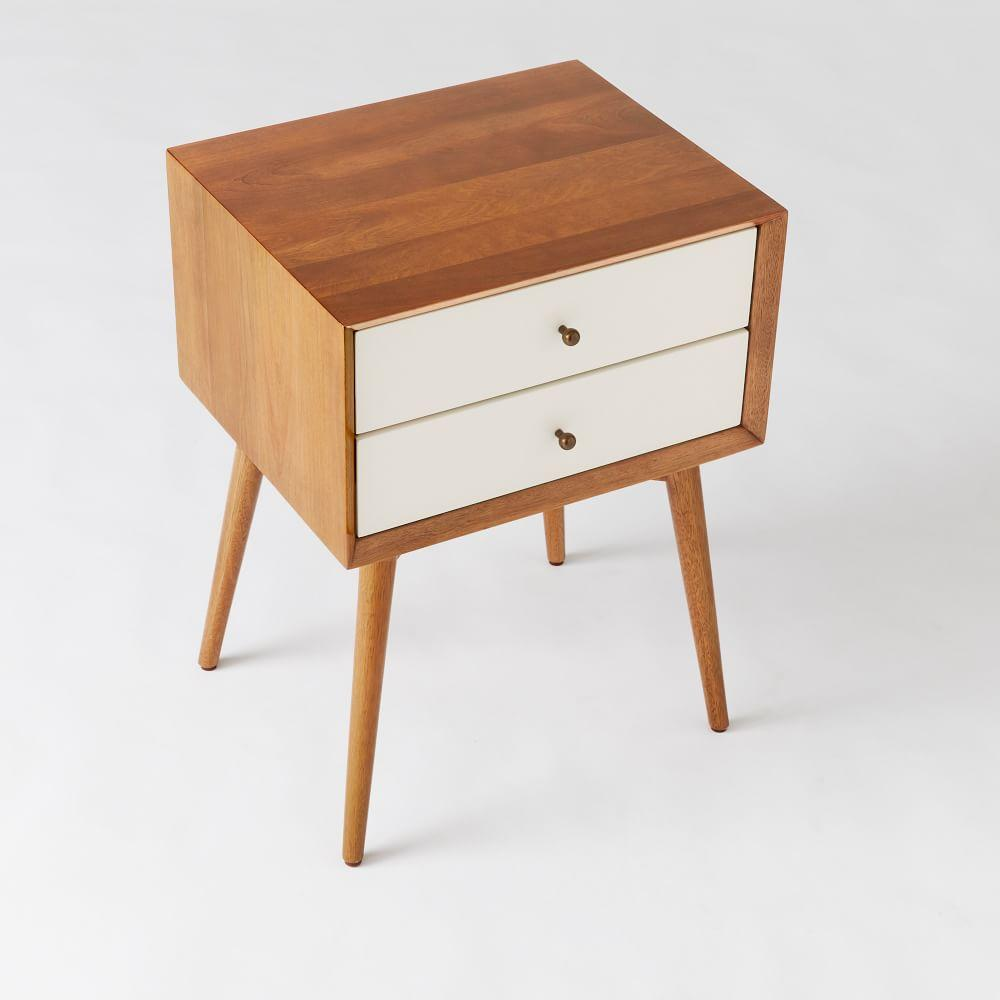Mid-Century Bedside Table - White + Acorn