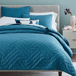 Organic Deco Coverlet + Pillowcases - Blue Teal
