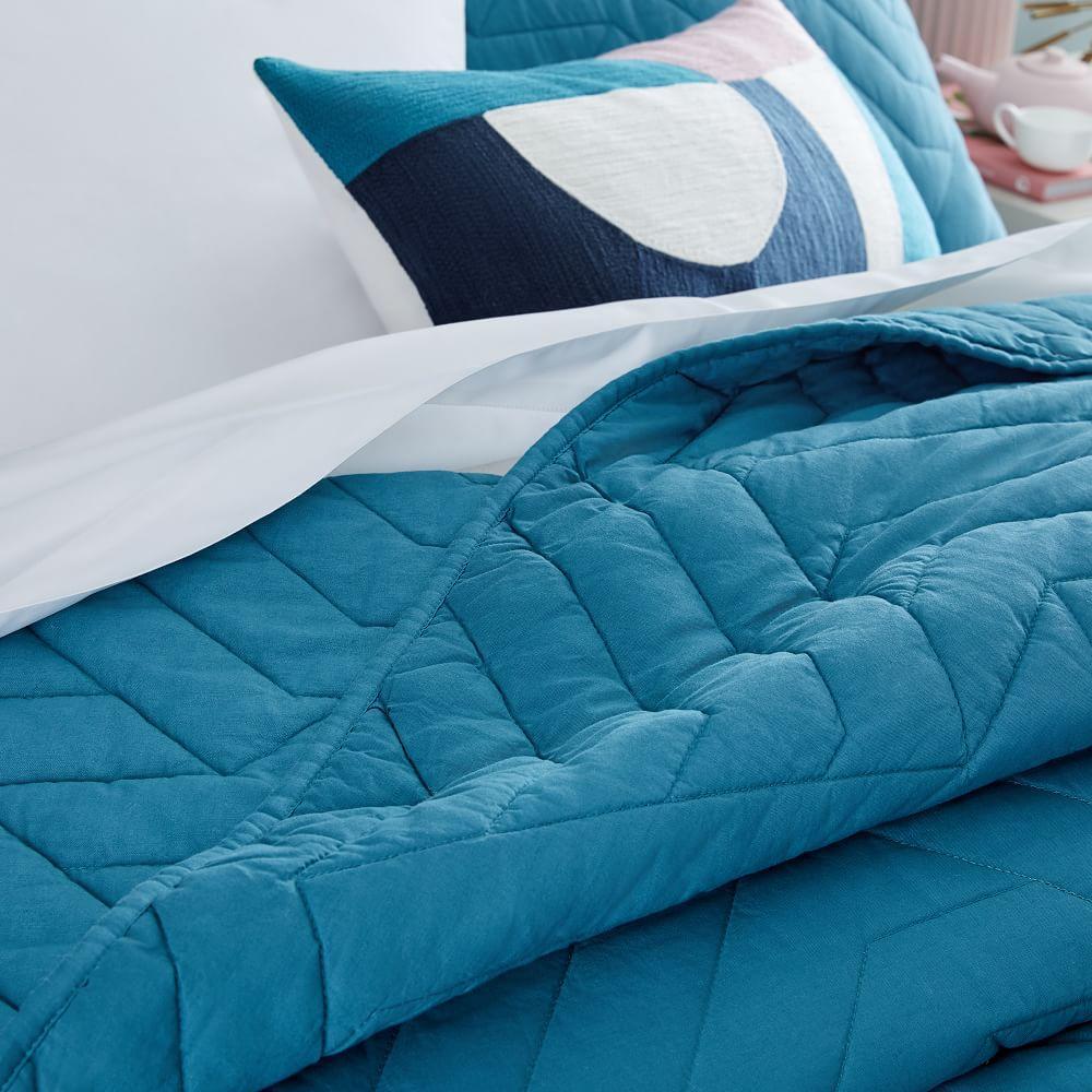Organic Deco Coverlet + Pillowcases - Blue Teal