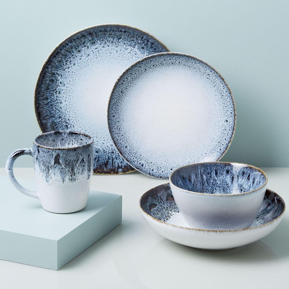 reactive glaze dinnerware set black white west elm australia. Black Bedroom Furniture Sets. Home Design Ideas