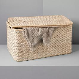 Modern Weave Lidded Storage Basket - Whitewashed