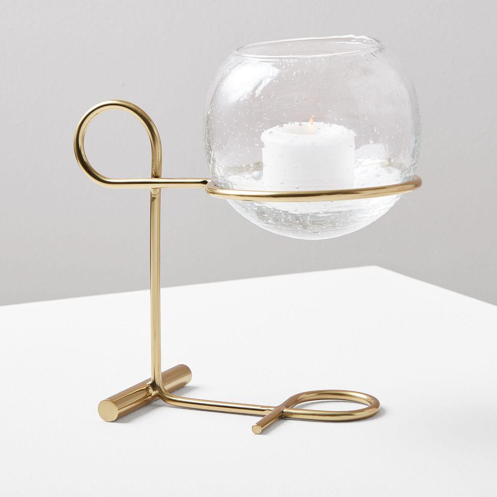 Brass + Glass Globe Centrepiece Candleholder