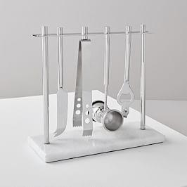 Deco Barware Collection - Nickel + Marble