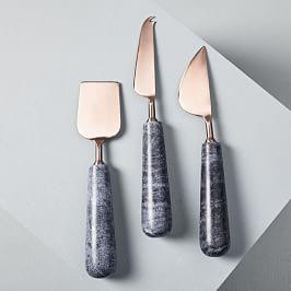 Copper + Black Marble Cheese Knives (Set of 3)