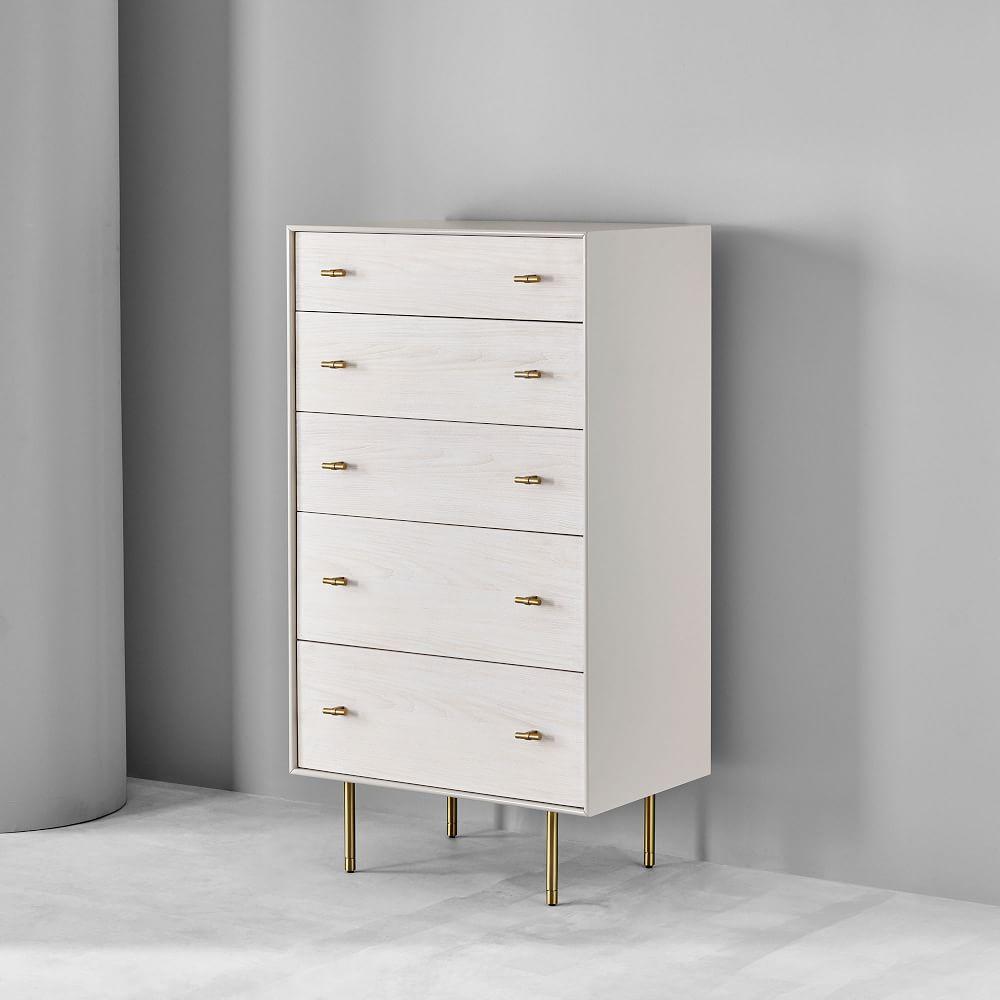 Modernist Wood + Lacquer 5-Drawer Dresser - Winter Wood