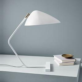 Curvilinear Mid-Century Table Lamp - White
