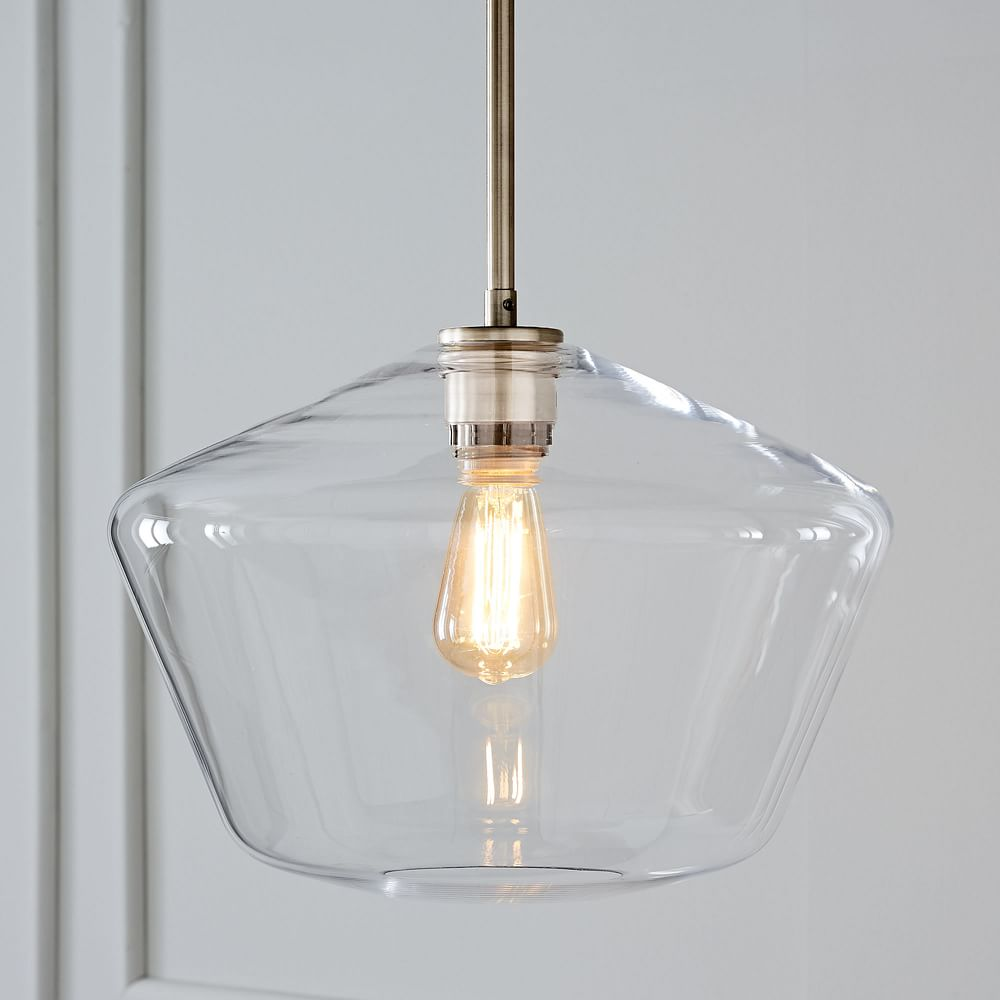 Sculptural Glass Geo Pendant - Large (Clear)