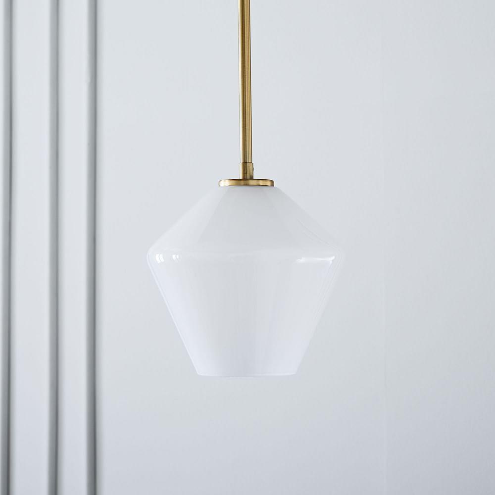 Sculptural Glass Geo Pendant - Small (Milk)