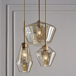 Sculptural Glass Geo 3-Light Chandelier - Mixed (Champagne)
