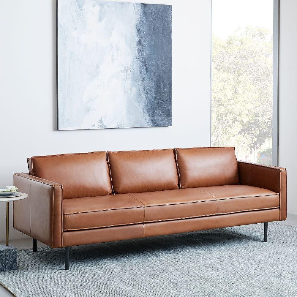 Axel Leather Sofa 226 Cm Saddle West Elm Australia