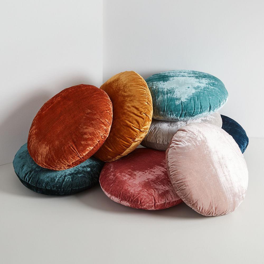 round lush velvet cushions west elm australia. Black Bedroom Furniture Sets. Home Design Ideas