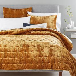 Lush Velvet Tack Stitch Coverlet + Pillowcases - Golden Oaks