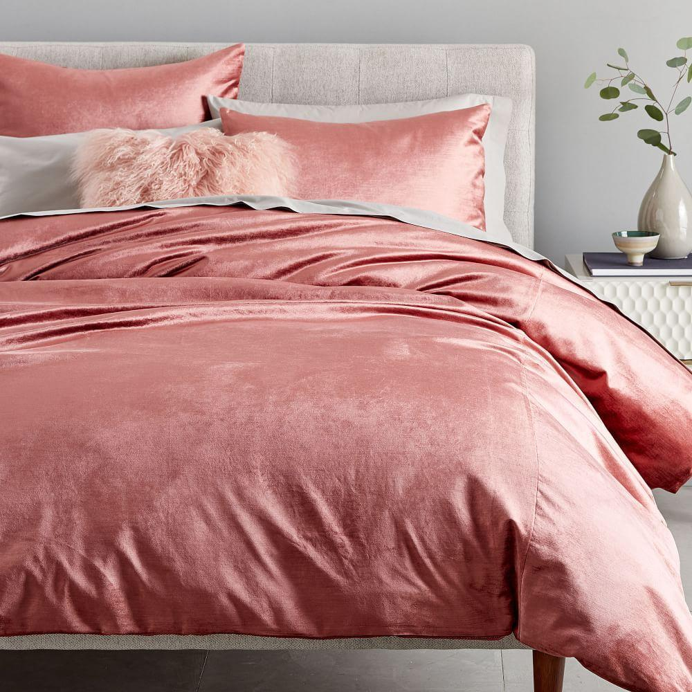 Washed Cotton Lustre Velvet Quilt Cover + Pillowcases - Pink Grapefruit