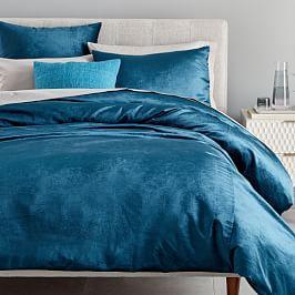 Washed Cotton Lustre Velvet Quilt Cover + Pillowcases - Regal Blue