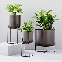 Spun Metal Standing Planters - Antique Bronze