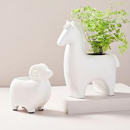 Ceramic Farm Animal Planters