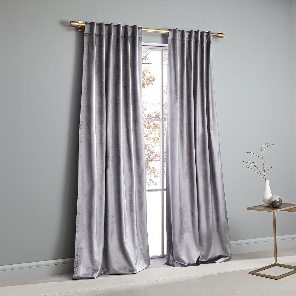 Cotton Lustre Velvet Curtain + Blackout Lining - Pewter