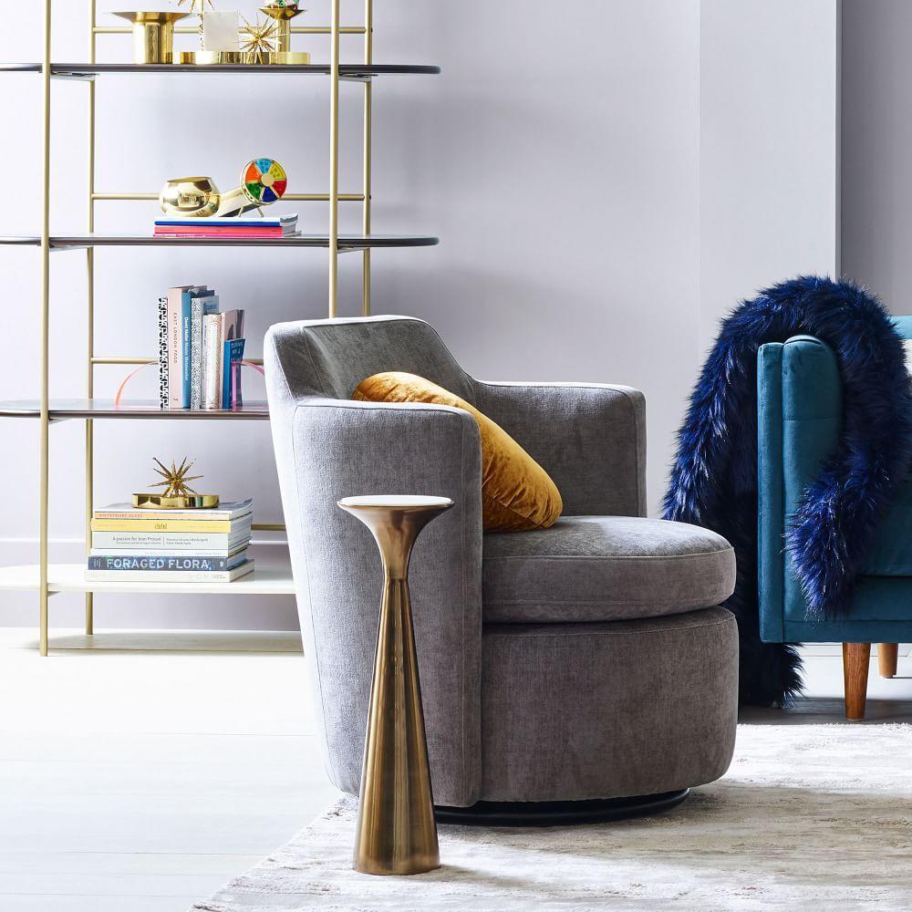 Adeline Swivel Chair - Metal (Distressed Velvet)