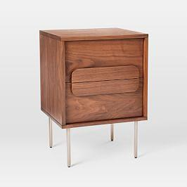 Gemini Bedside Table - Walnut