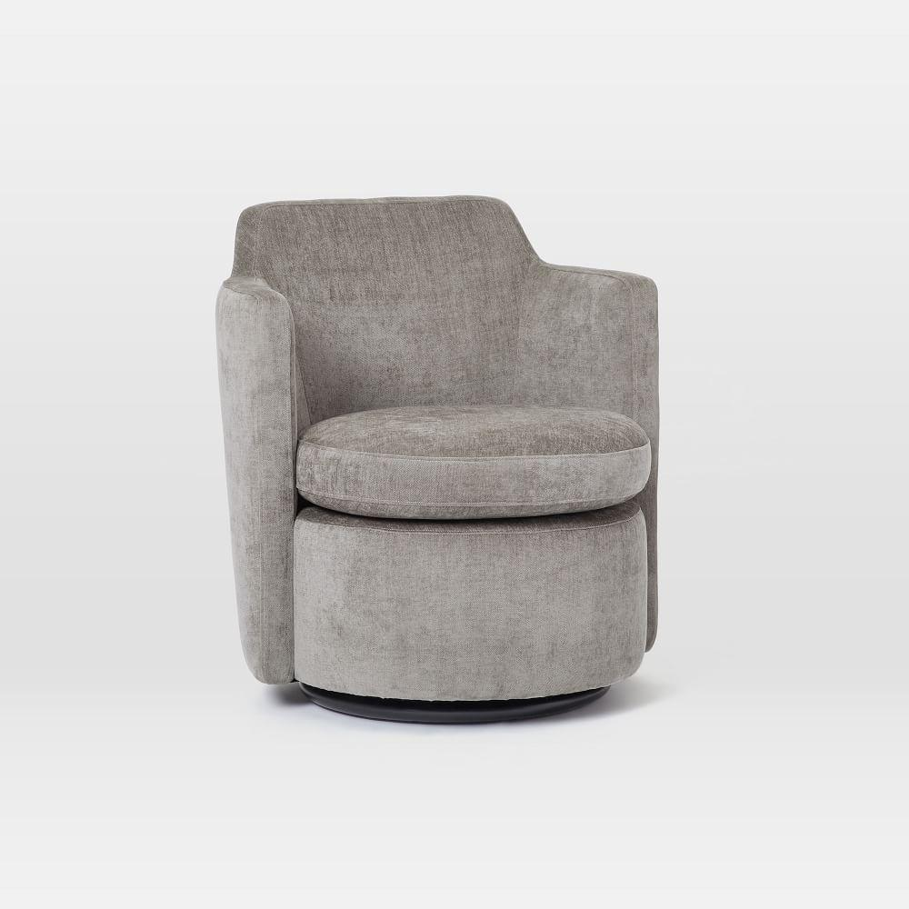 Adeline Swivel Chair Metal Distressed Velvet West